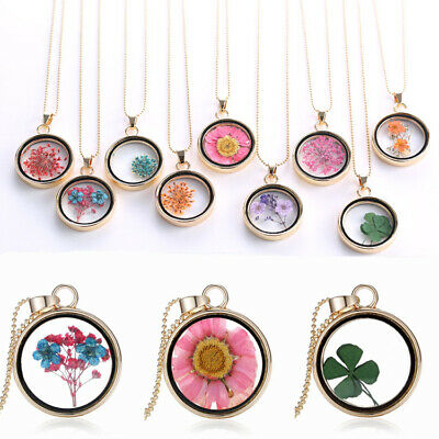 Natural Real Dried Flower Resin Round Glass Floating Locket Necklace Pendant