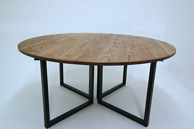 Russell Oak & Steel - Trace Circular Round Industrial Vintage Style Office Desk