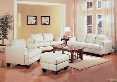 Prime Samuel Cream Off White Bonded Leather Living Room Sofa Pabps2019 Chair Design Images Pabps2019Com