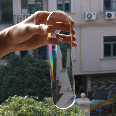 200MM Rainbow Oval Faceted Clear CRYSTAL Lamp Prisms Hanging Pendant SUNCATCHER