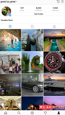Instagram account 8.2k about Luxury. HQ. Real People.