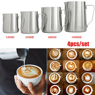 Milk Frothing Jug Stainles Steel Frother Coffee Latte Pitcher 150/350/600/1000ML