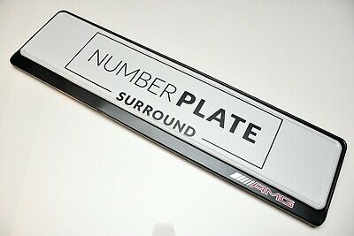 1 x PREMIUM BLACK STAINLESS STEEL NUMBER PLATE SURROUND HOLDER FOR MERCEDES