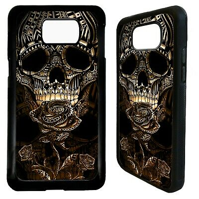 Skull gothic gold rose tattoo art case cover for Samsung Galaxy S7 S8 S9 plus