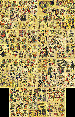 "Sailor Jerry Traditional Tattoo Flash 37 Sheets 11x14"" Set 5 USN, Hawaii, Girls"