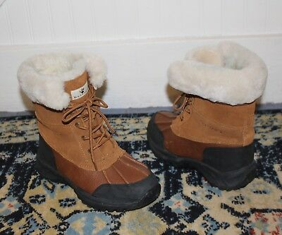 4f95a4525c3 BEARPAW STOWE Suede Leather Shearling Duck Boots Brown Boys 5 Fit Women s  7.5