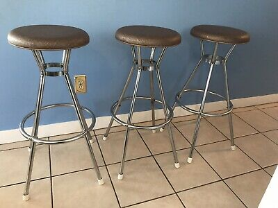 Set of 3 Vintage Mid Century Modern Cosco Chrome Swivel Bar Stools Seats Chairs