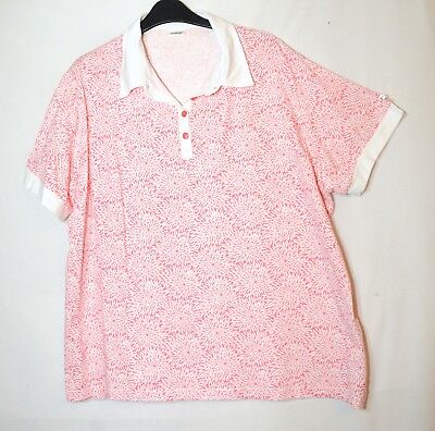 1964b82c1d3 White Pink Floral Ladies Casual Top Blouse Polo Shirt Damart Stretch Size 22 -24