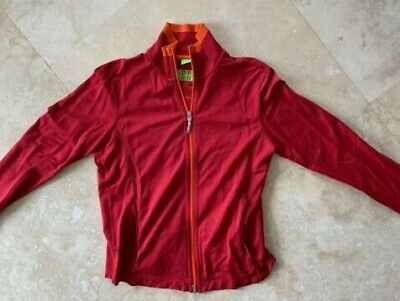 Hugo Boss Mens Red Full Zip Light Jacket M L Green Label Authentic Sweater  Block 4a2bf6097ed1