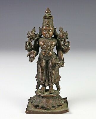 Antique Indian Bronze Statue of Four Armed Deity with Nice Detail