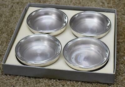 F.B. Rogers Luxurious Silver plate Glass Lined Ashtray Set of Four