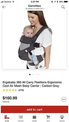69b6315cffc ERGO BABY FOUR Position 360 Carrier Cool Air - Carbon Grey -  85.95 ...