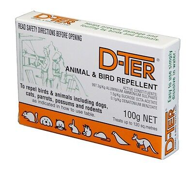 Animal & Bird Repellent D-TER, DTER  Repel Dogs Cats Possum 100gm Stops Fouling
