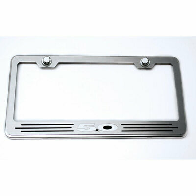 ACC Plate Frame Black Brushed Vinyl '5.0' Inlay fits Ford Universal-Stainless