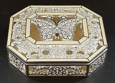 Silver plate & sparkly stone vintage Art Deco antique butterfly trinket box