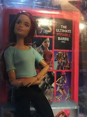 Barbie Made to Move red hair, aqua blue shirt, posable doll