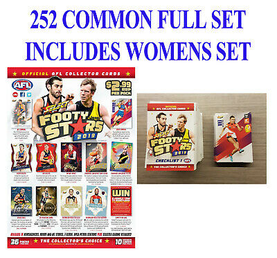 2019 Afl Select Footy Stars 252 Common Card Full Base Set + Womens Cards