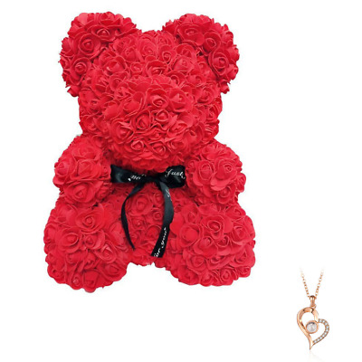 "Red Rose Flower Teddy Bear 10"" + FREE I Love You Necklace 