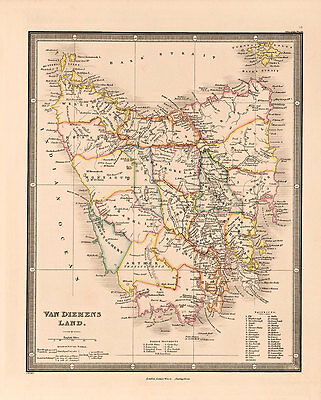 Van Diemens Land Vintage Map A2 High Quality Art Print