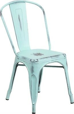 Distressed Dream Blue Green Metal Indoor-Outdoor Stackable Chair Commercial Use