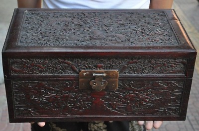 """14"""" Old China Huanghuali wood carving Dragon statue Jewelry Box"""