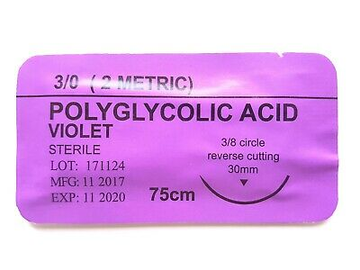 12 x PRACTISE SUTURES Polyglycolic Acid Violet 3-0 (Absorbable Suture)