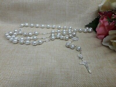 Pearl Rosary Necklace-white-Rosario Collar 1PC