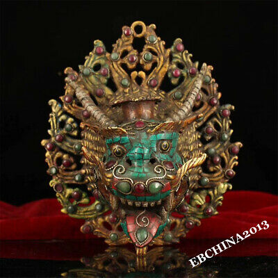 "8"" Old  Tibet Buddhism Bronze Gilt Inlay Turquoise Dragon Head Mask Statue  y"