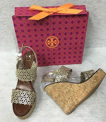 7f98ab8a24d2 Tory Burch Daisy Wedge Sandal Gold Metallic Leather Laser Cut Out Shoes 10m