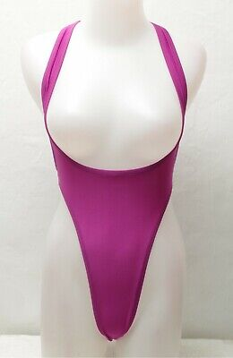 New Shiny Purple Thong Sportsback Suspender Leotard for Women size 10 Small