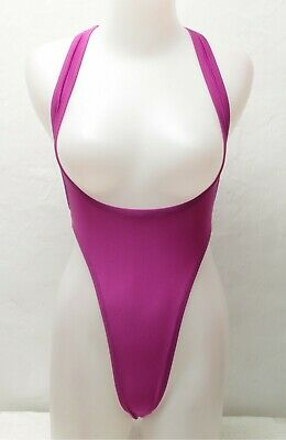 New Shiny Purple Thong Sportsback Suspender Leotard for Women size Medium