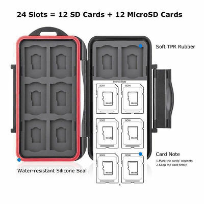 Memory Card Case Holder Storage Waterproof Fits 12 SD+12 Micro SD TF Cards