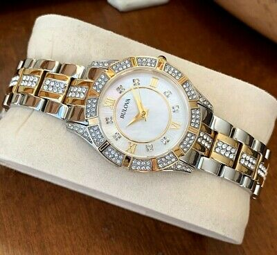 Bulova Women's 98L135 Watch Crystal Accents Stainless Steel Water Resistant MOP