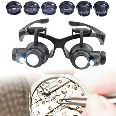 AA74 Jeweler Watch Repair Magnifier Double Eye Glasses Loupe LED 8 Lens Black