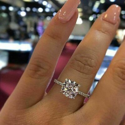Certified 3Ct Round Cut Diamond Solitaire Engagement Wedding Ring 14K White Gold