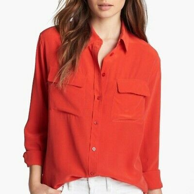 f3a49296d Equipment Femme Red Silk Reese Signature Blouse Button Down Shirt Size XS