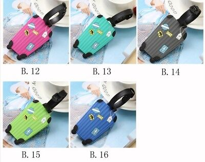 New 2pcs Suitcase Luggage Tags ID Address Holder Silicone Identifier Label #IN9