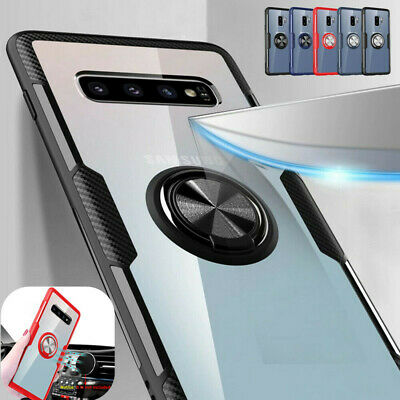 Magnetic Ring Holder Clear Hard Case Cover For Samsung Galaxy S10 Plus S10e S10