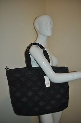 37d293029351 NWT  375+ Tory Burch FLAME Quilt Nylon Tote Zip Bag BLACK With Logo LARGE