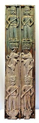 Carved Panels Wooden Poly Chrome Vintage Neo Classical Soldier Gun Lion Rare