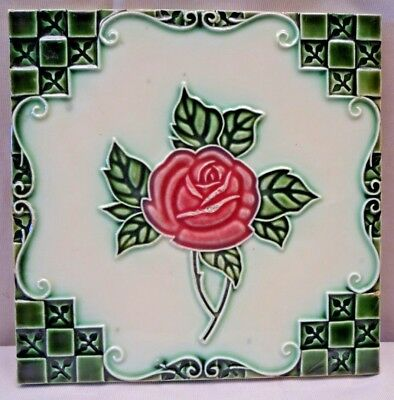 Tile Majolica Japan Dk Art Deco Style Ceramic Porcelain Flower Design Collec#224