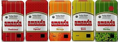 Amanda Yerba Mate Tea SAMPLER Pack - 5 x 75g each - Produced in Argentina