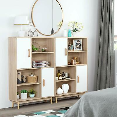 Oak White Sideboard Cupboard Cabinet Storage Unit Display Cube Shelf with Doors