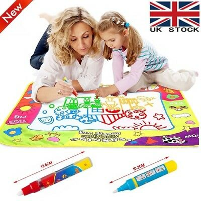 Kids Aqua Doodle Water Painting Drawing Mat Large Writing Board Magic Pen Toy UK