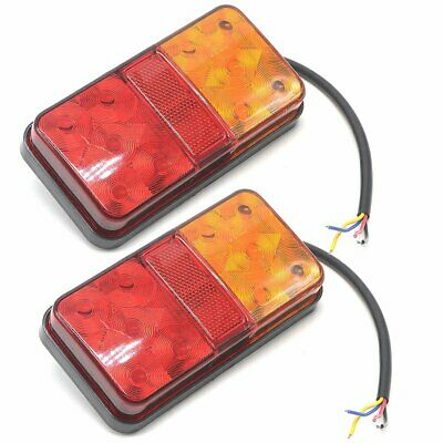 2x 12V LED RECOVERY TRAILER TRUCK LORRY VAN STOP REAR TAIL LIGHT INDICATOR LAMP