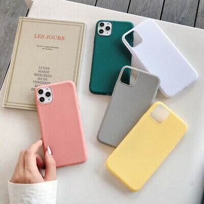 For Apple iPhone XS Max XR 8 6s 7 Solid Candy Color Case Slim Soft Rubber Cover