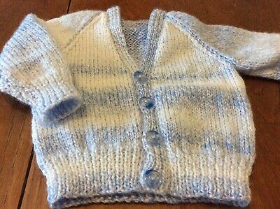 A New Hand Knitted Blue Cardigan Approx Age 6 Months