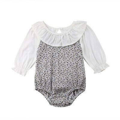 4baeedd9c165 USA Floral Newborn Infant Baby Girl Long Sleeve Romper Jumpsuit Clothes  Outfits