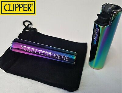 CLIPPER ENGRAVED RAINBOW LIGHTER Steel Personalised Birthday Christmas  Gift  N