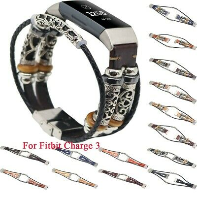 Unique Replacement Leather Wristband Band Strap Bracelet For Fitbit Charge 3 New